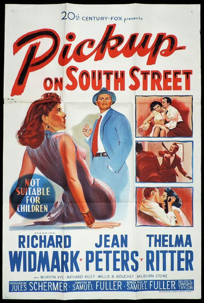 PICKUP ON SOUTH STREET Original One sheet Movie Poster Richard Widmark Jean Peters Thelma Ritter