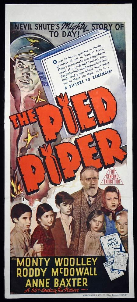 THE PIED PIPER Original Daybill Movie Poster Monty Woolley Roddy McDowall Anne Baxter Marchant