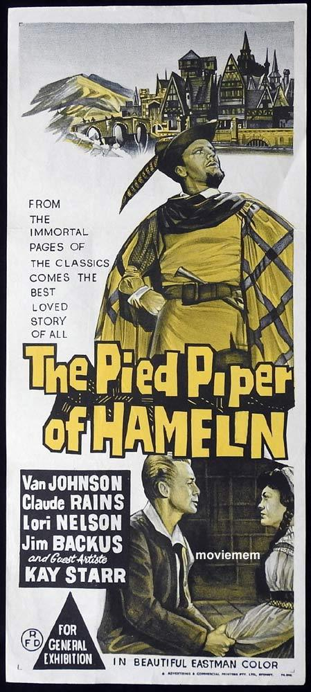 THE PIED PIPER OF HAMELIN Original Daybill Movie Poster Van Johnson Claude Rains