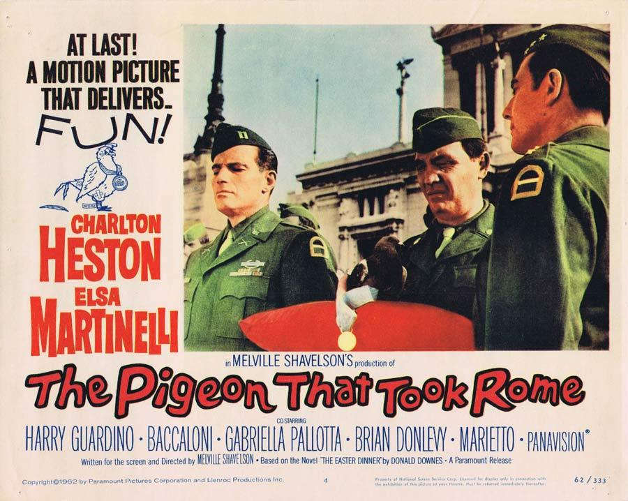THE PIGEON THAT TOOK ROME Lobby Card 4 Charlton Heston Harry Guardino