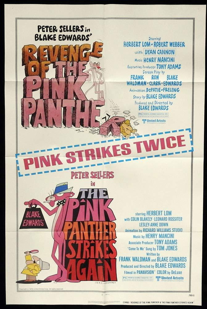 PINK PANTHER DOUBLE BILL Original US One sheet Movie poster Peter Sellers