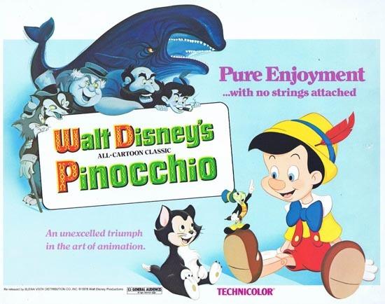 PINOCCHIO Title Lobby card 1978r Disney Classic