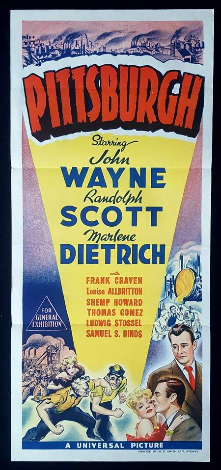 PITTSBURGH Original Daybill Movie Poster Marlene Dietrich John Wayne