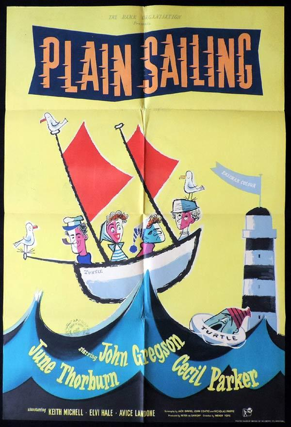 PLAIN SAILING aka TRUE AS A TURTLE British One Sheet Movie Poster John Gregson