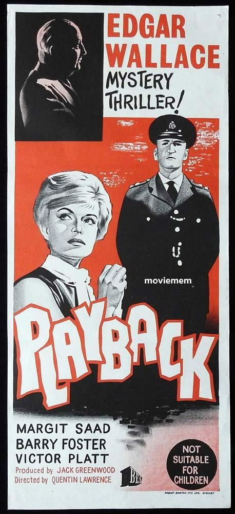 PLAYBACK Original Daybill Movie Poster Barry Foster Edgar Wallace John LeMesurier