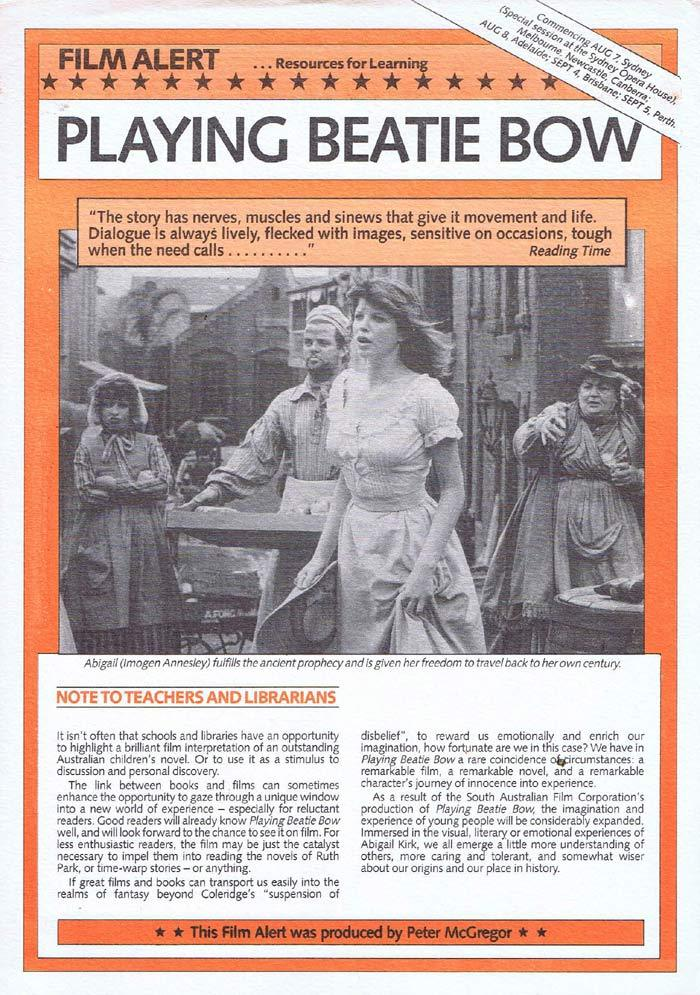 PLAYING BEATIE BOW Original Movie Study Guide Australian Donald Crombie