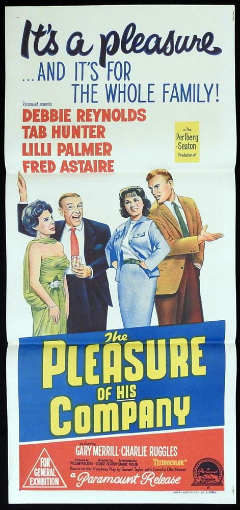 THE PLEASURE OF HIS COMPANY Original Daybill Movie Poster Fred Astaire Debbie Reynolds