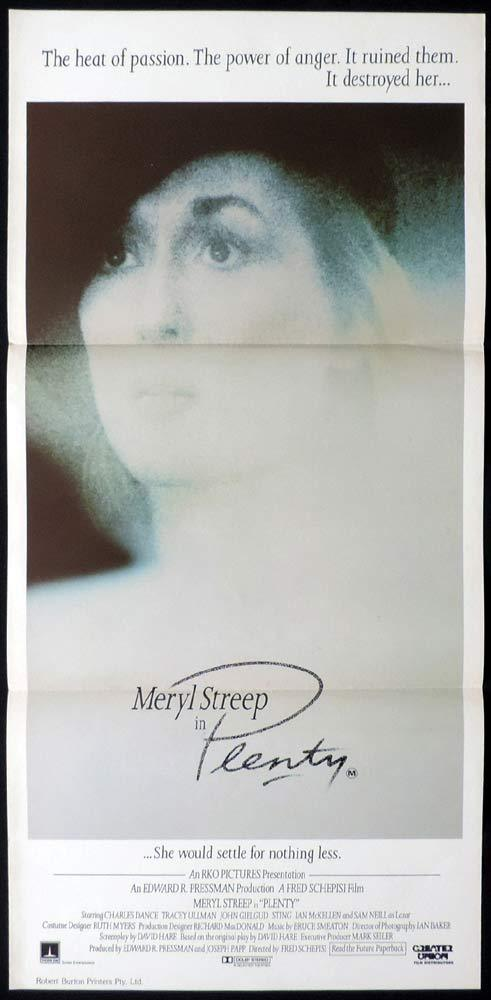 PLENTY Original Daybill Movie poster Meryl Streep Sam Neill Fred Schepisi