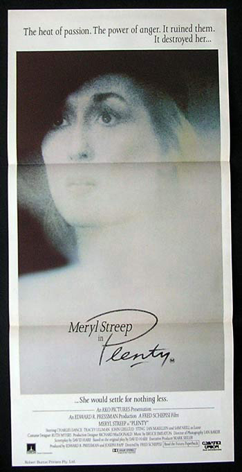 PLENTY Original Daybill Movie Poster Meryl Streep