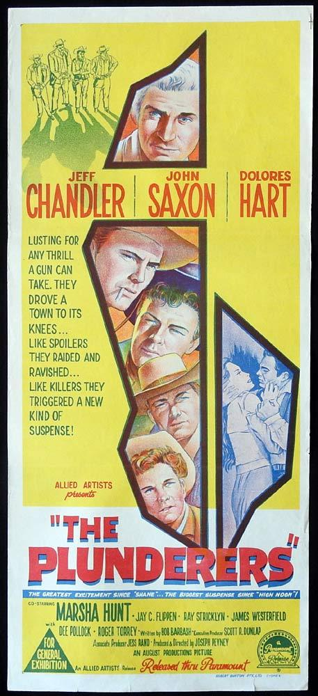 THE PLUNDERERS Original Daybill Movie Poster Jeff Chandler John Saxon