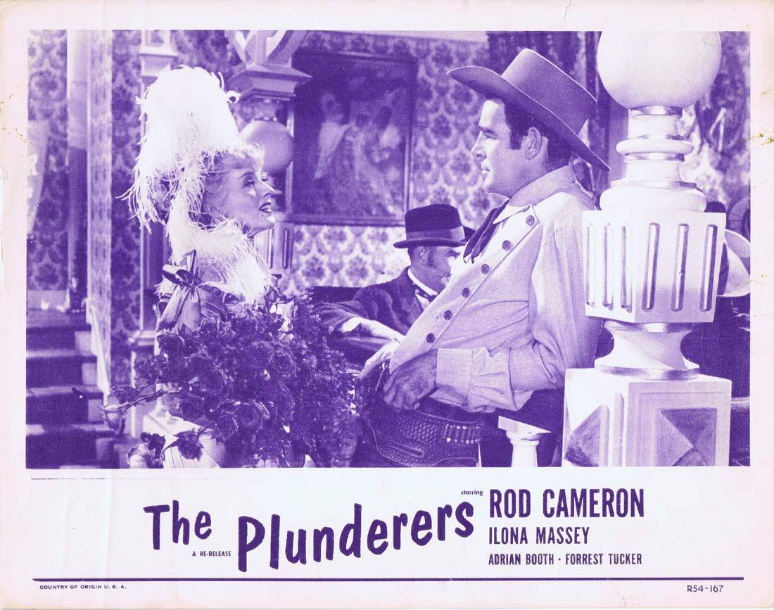 THE PLUNDERERS Original 1954r Lobby Card Rod Cameron Ilona Massey Lorna Gray