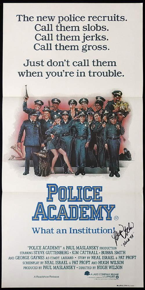 POLICE ACADEMY Original Daybill Movie poster BRIAN TOCHI autograph