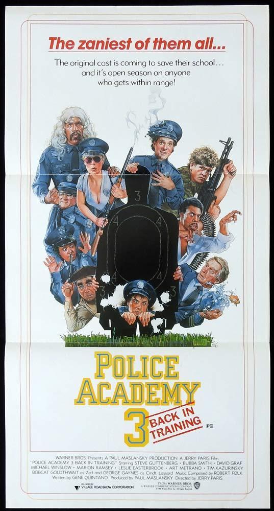POLICE ACADEMY 3 Original Daybill Movie poster DREW STRUZAN Art Steve Guttenberg