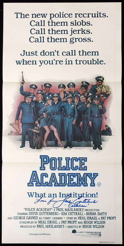 POLICE ACADEMY Original Daybill Movie poster LESLIE EASTERBROOK autograph