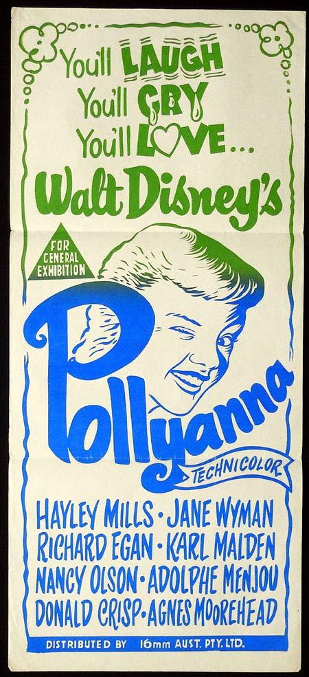 POLLYANNA Original Daybill Movie Poster Hayley Mills Jane Wyman 16mm release