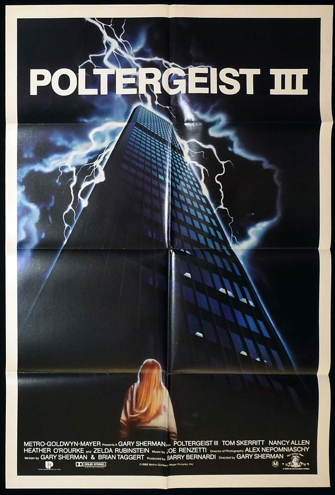 POLTERGEIST 3 One Sheet Movie Poster Horror Tom Skerritt Nancy Allen
