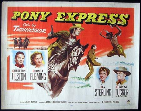 Pony Express 53 Charlton Heston Us Half Sheet Poster