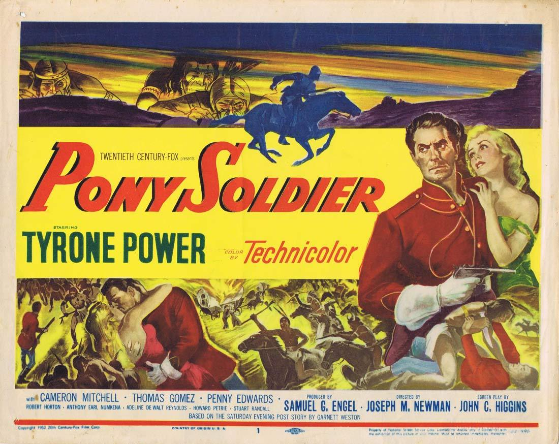 PONY SOLDIER Original Title Lobby Card Tyrone Power Cameron Mitchell