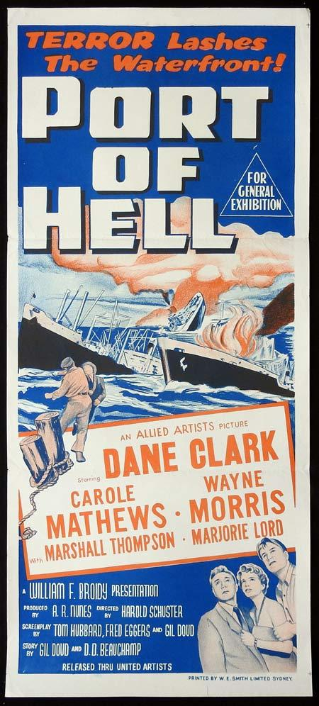 PORT OF HELL Original Daybill Movie Poster Dane Clark Carole Mathews Marshall Thompson