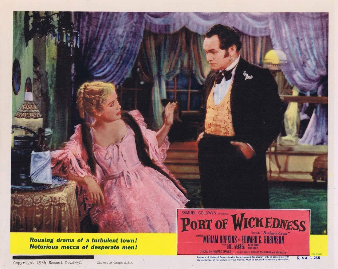 PORT OF WICKEDNESS Lobby Card 1 Miriam Hopkins Edward G. Robinson Joel McCrea 1954r