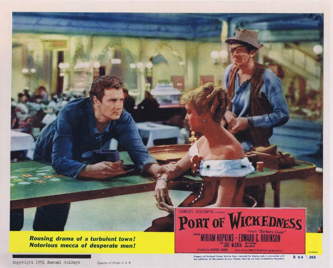 PORT OF WICKEDNESS Lobby Card 5 Miriam Hopkins Edward G. Robinson Joel McCrea 1954r