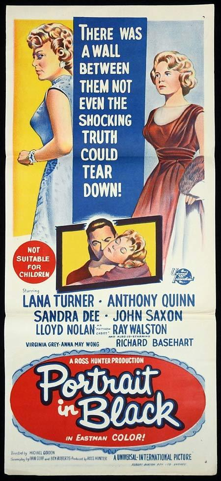 PORTRAIT IN BLACK Original Daybill Movie poster Lana Turner Anthony Quinn