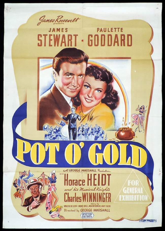 POT O GOLD Original One sheet Movie Poster James Stewart Paulette Goddard