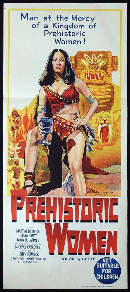 PREHISTORIC WOMEN aka SLAVE GIRLS Movie Poster 1967 Hammer Horror daybill