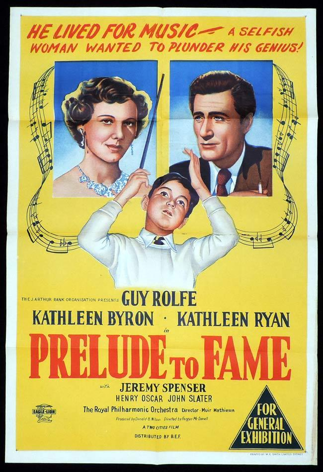 PRELUDE TO FAME Original One sheet Movie Poster Guy Rolfe Kathleen Byron Kathleen Ryan