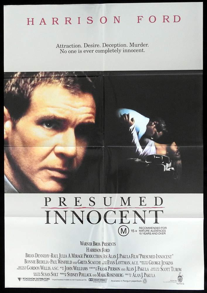 PRESUMED INNOCENT Australian One sheet Movie Poster Harrison Ford