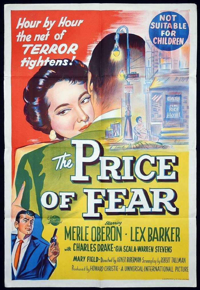 THE PRICE OF FEAR Original One sheet Movie poster Merle Oberon Lex Barker
