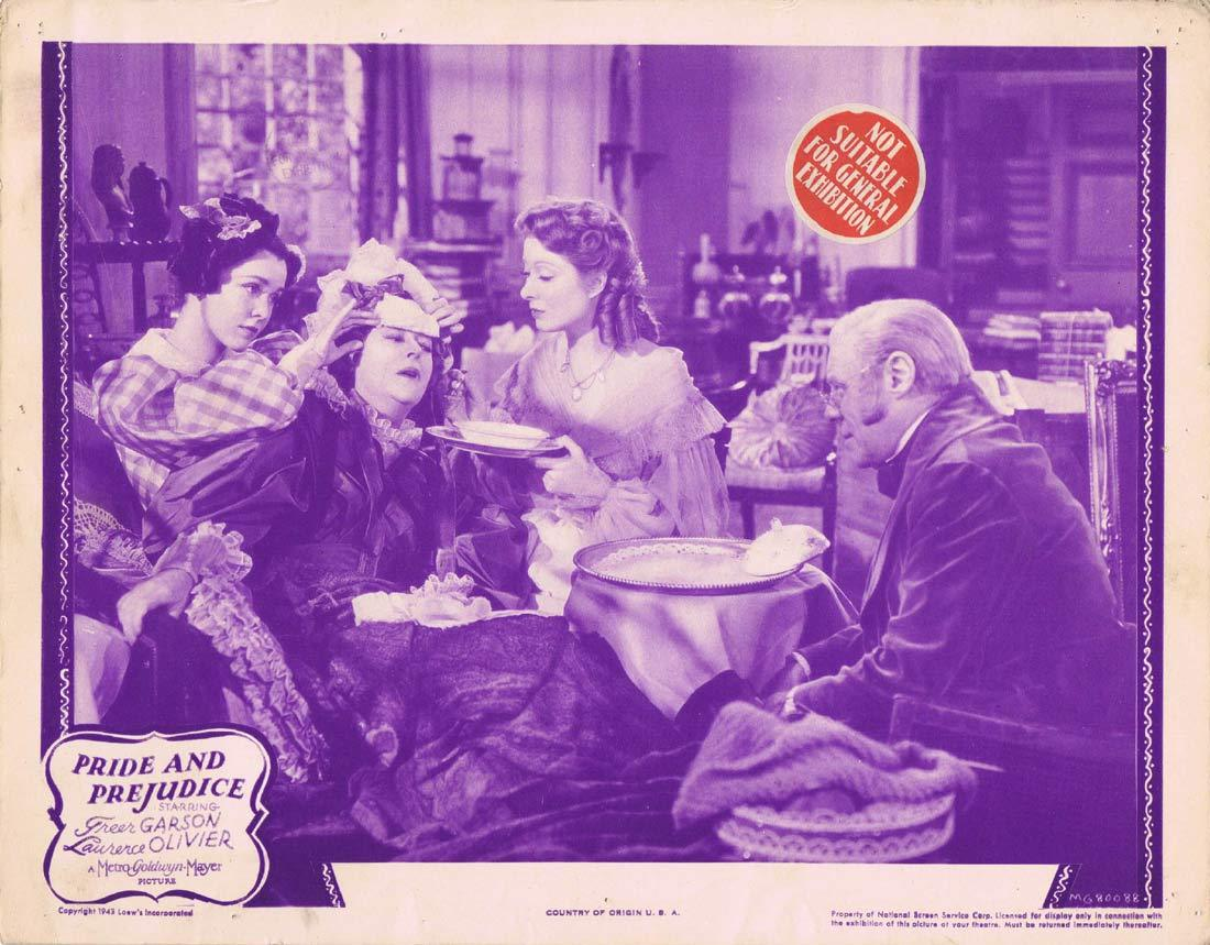 PRIDE AND PREJUDICE Original 1943r Lobby Card 3 Greer Garson Laurence Olivier
