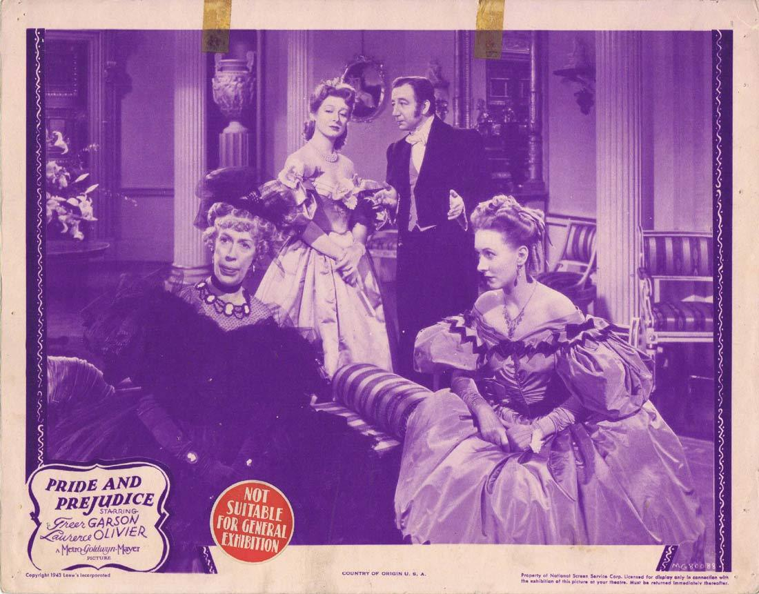 PRIDE AND PREJUDICE Original 1943r Lobby Card 5 Greer Garson Laurence Olivier
