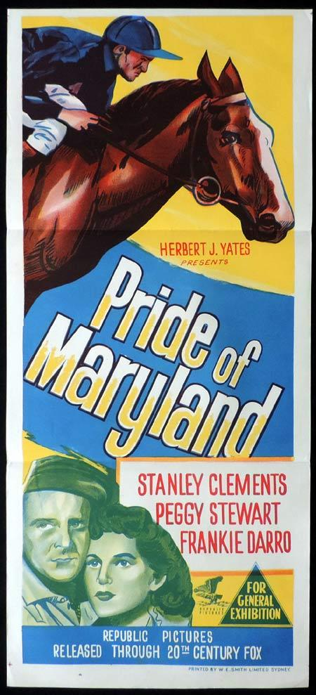 PRIDE OF MARYLAND Original Daybill Movie Poster Stanley Clements Horse Racing