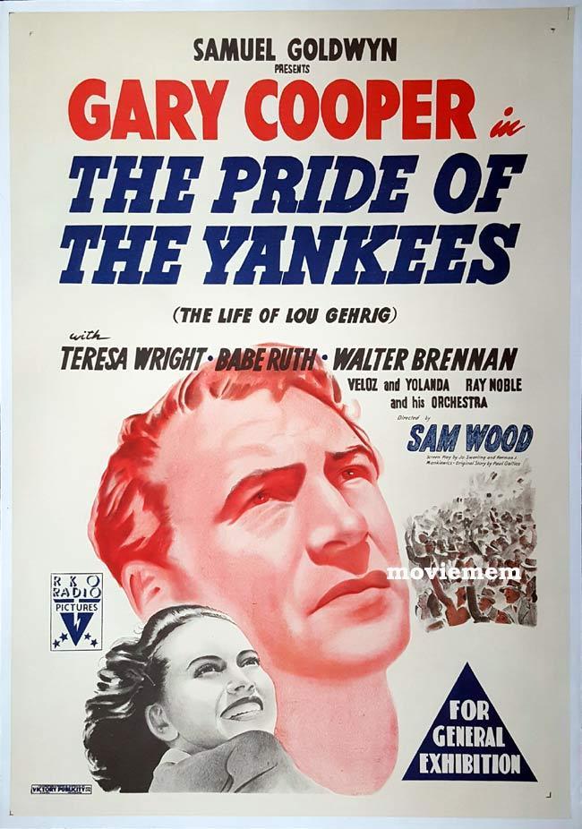 PRIDE OF THE YANKEES Original One sheet Movie Poster GARY COOPER Lou Gehrig