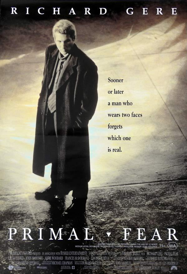 PRIMAL FEAR Original daybill Movie Poster RICHARD GERE Edward Norton