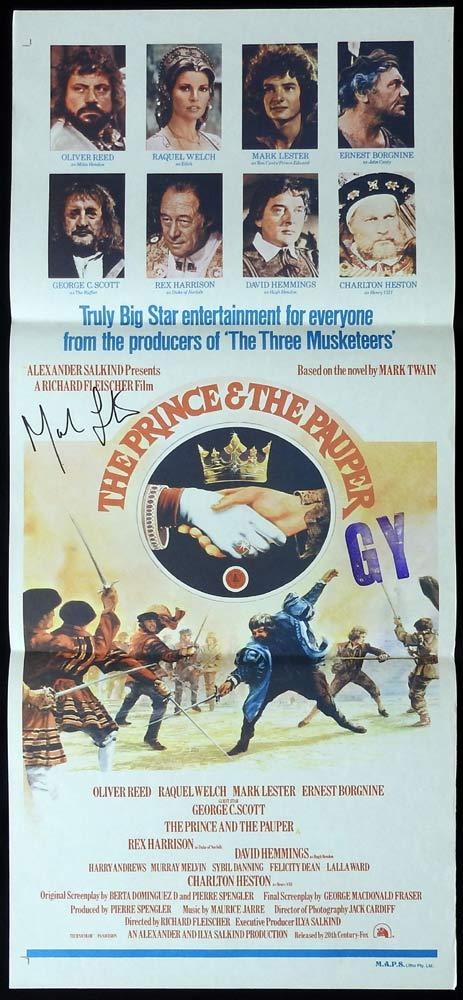 THE PRINCE AND THE PAUPER Original Daybill Movie poster MARK LESTER Autograph