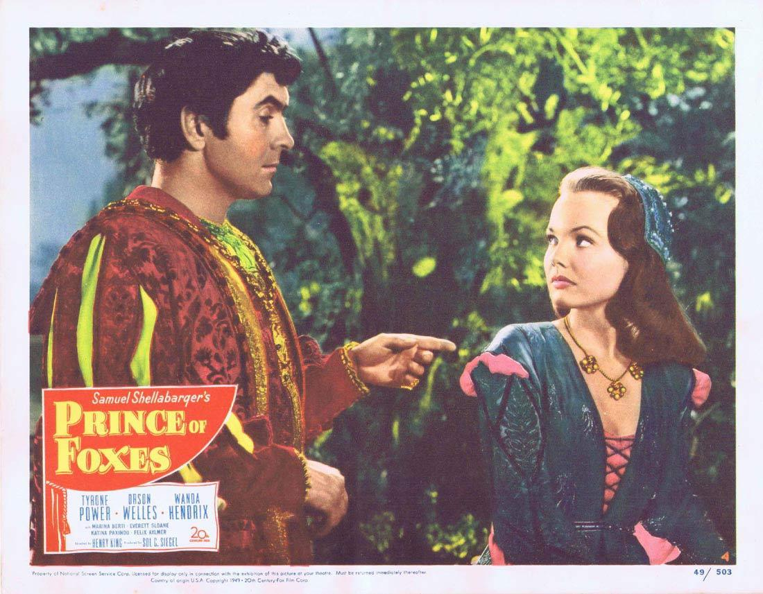 PRINCE OF FOXES Lobby Card 4 Tyrone Power Orson Welles