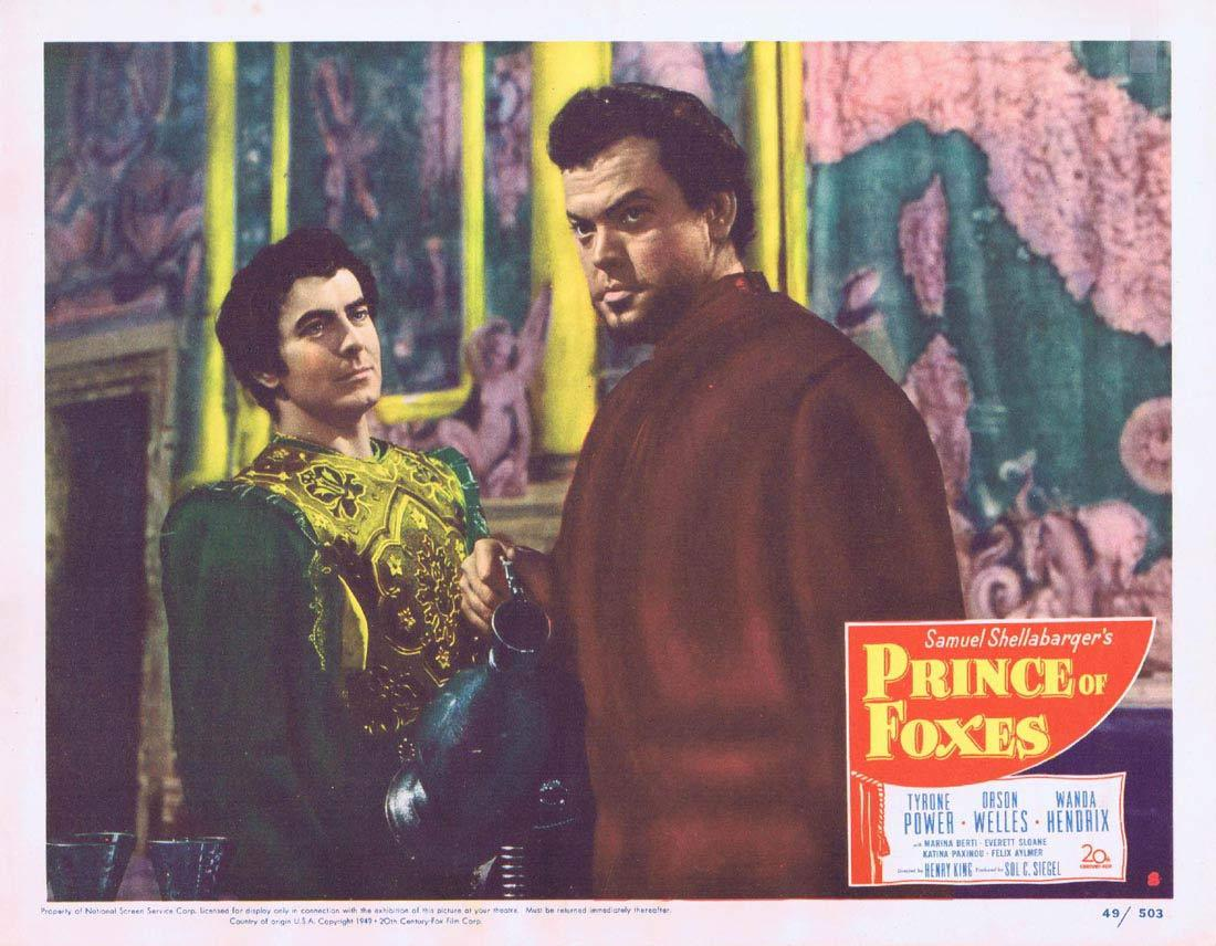 PRINCE OF FOXES Lobby Card 8 Tyrone Power Orson Welles