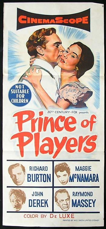 PRINCE OF PLAYERS '55 Richard Burton RARE Daybill Movie poster