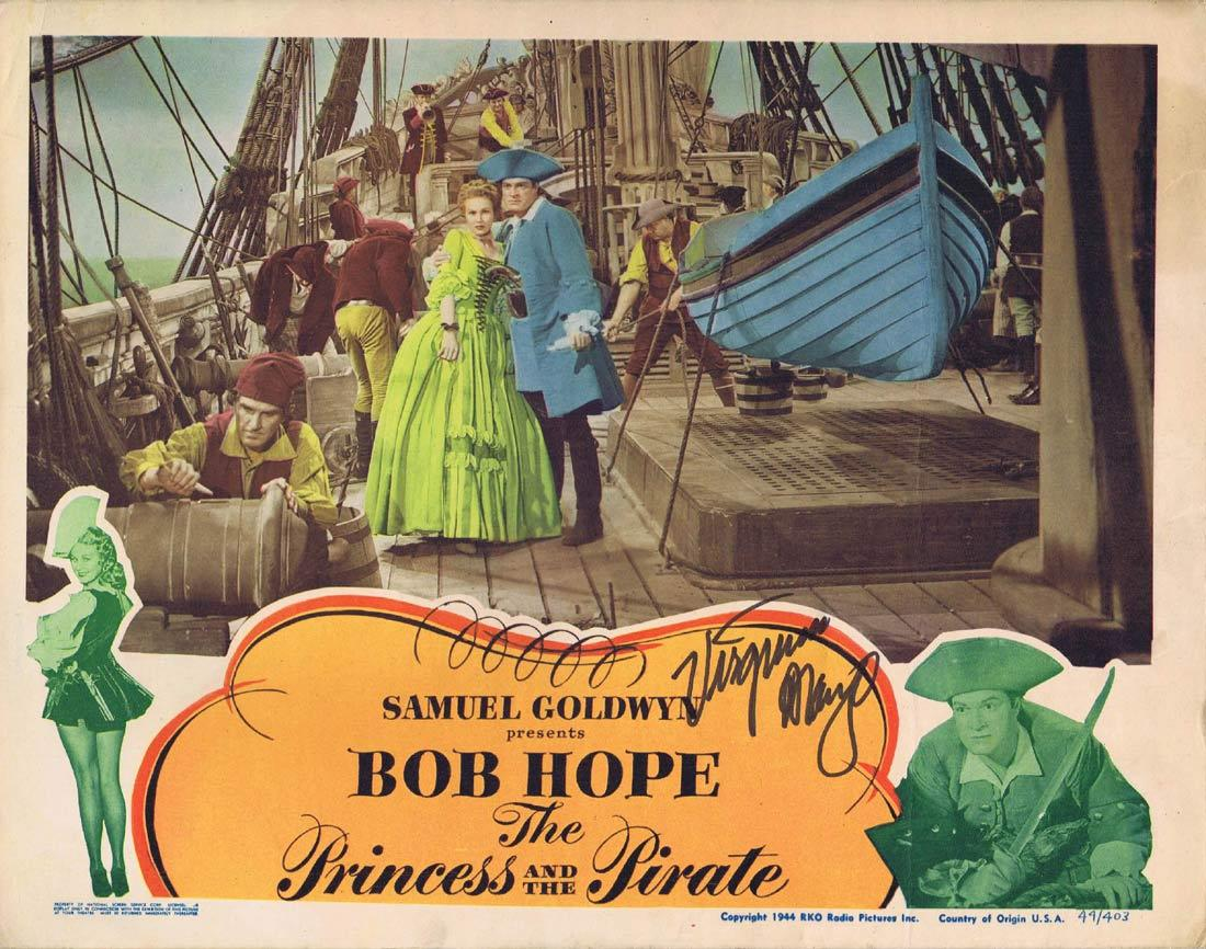 THE PRINCESS AND THE PIRATE Original Lobby Card Autographed by Virginia Mayo