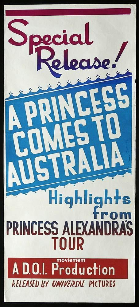 A PRINCESS COMES TO AUSTRALIA, Original Daybill, Movie Poster, Princess Alexandra, Documentary, Royal Memorabilia