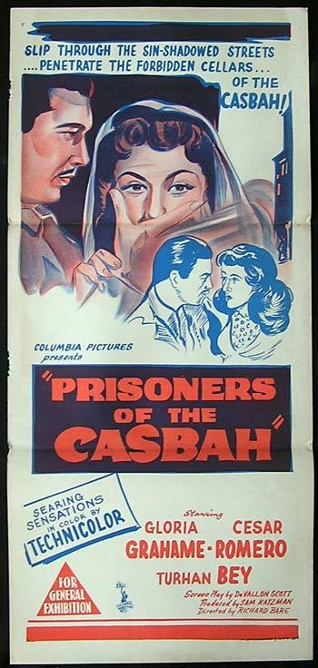 PRISONERS OF THE CASBAH '53 Gloria Grahame Vintage Daybill Movie poster
