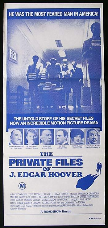 PRIVATE FILES OF J.EDGAR HOOVER Original Daybill  Movie poster Broderick Crawford