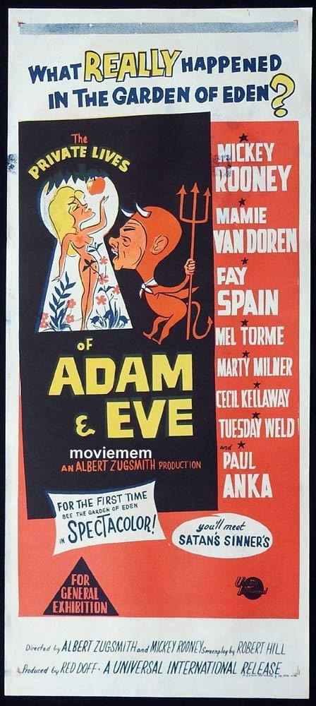 THE PRIVATE LIVES OF ADAM AND EVE Original Daybill Movie Poster Mickey Rooney