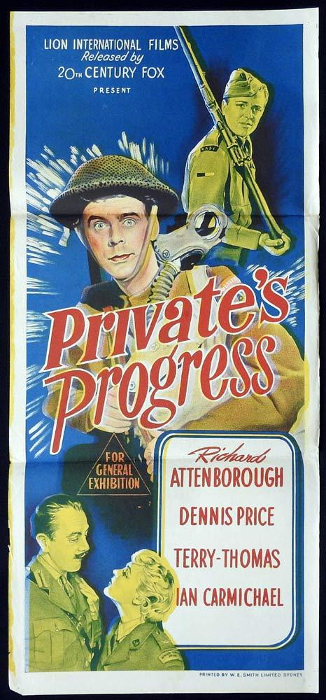 PRIVATES PROGRESS Original Daybill Movie poster  Ian Carmichael Richard Attenborough