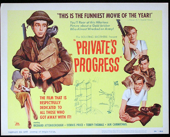 PRIVATE'S PROGRESS 1956 Richard Attenborough Title Lobby Card