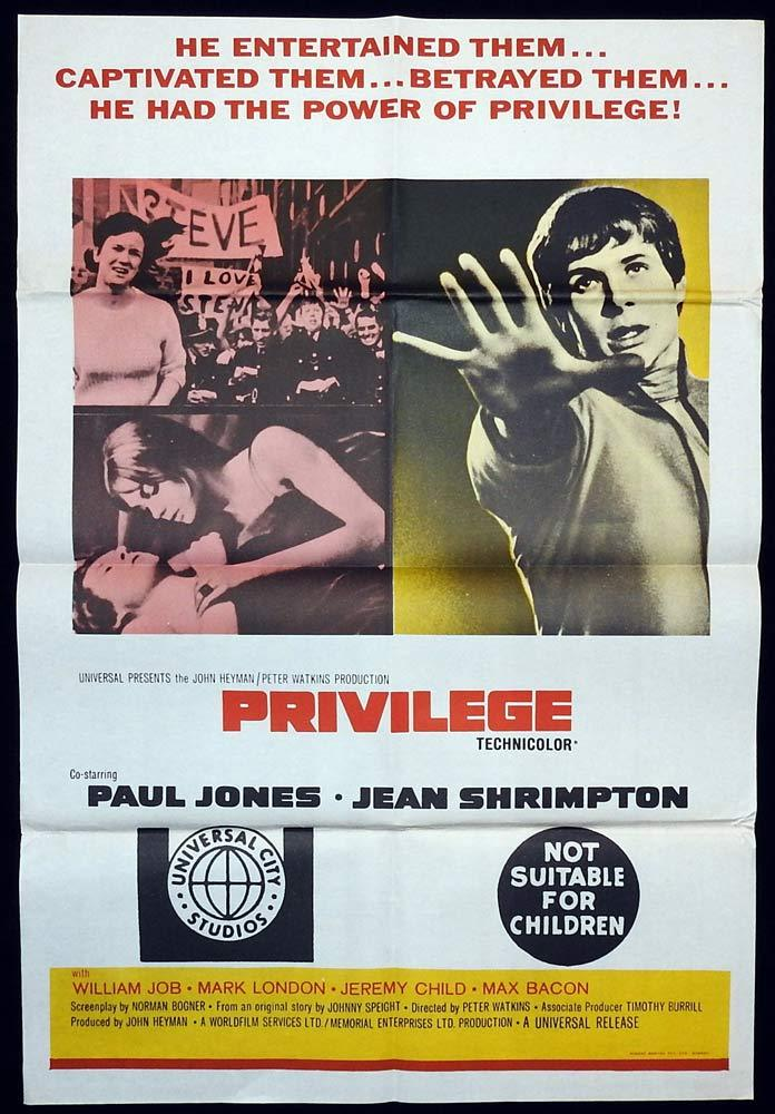 PRIVILEGE Original One sheet Movie poster Jean Shrimpton Paul Jones