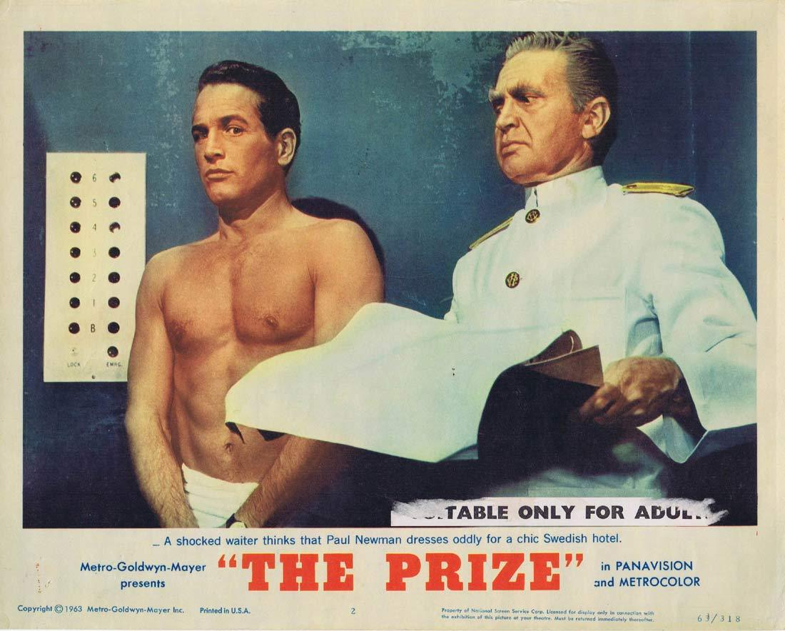 THE PRIZE Lobby Card 2 Paul Newman Edward G. Robinson