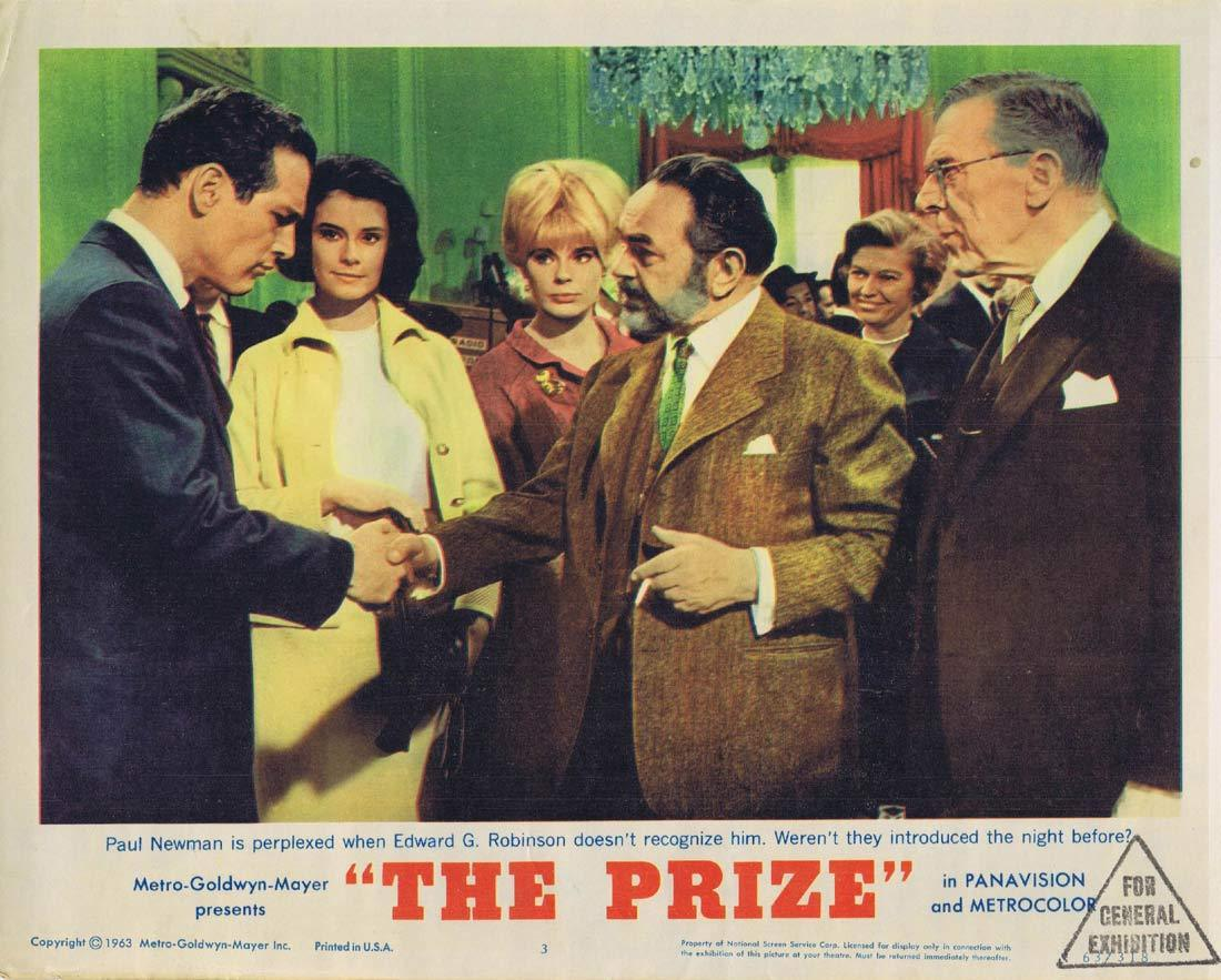 THE PRIZE Lobby Card 3 Paul Newman Edward G. Robinson
